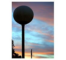 Sunset behind the light pole Photographic Print
