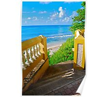 golden staircase to the Caribbean Sea Poster
