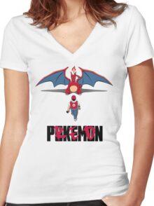Pokémon Champion Red Women's Fitted V-Neck T-Shirt