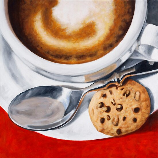 Coffeecup on Red by Klaus Boekhoff