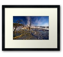 Mammoth Hot Springs - Catching Rays Framed Print