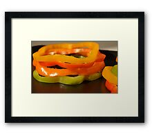 Stacked Peppers- Assorted Peppers Stacked Framed Print