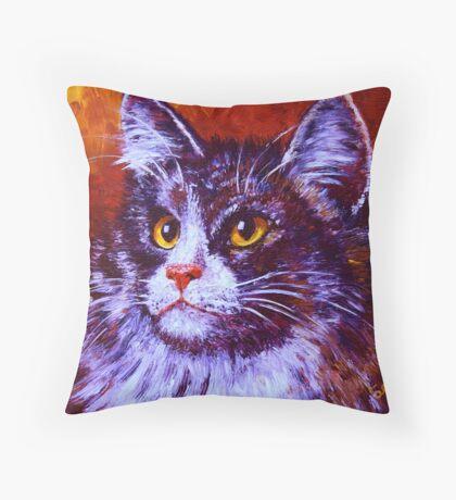 Longhair Cat Throw Pillow
