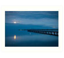 Moonrise Over Bay Art Print