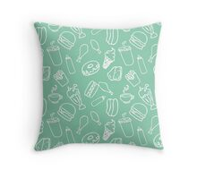 Fast Food Blvd. in Teal  Throw Pillow