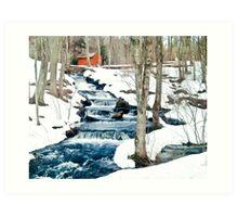 Waterfall cascading down snowy slope. New England winter scene Art Print