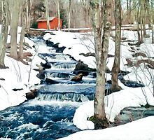 Waterfall cascading down snowy slope. New England winter scene by VisionQuestArts