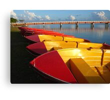Red Hire Boats - Bribie Island Canvas Print