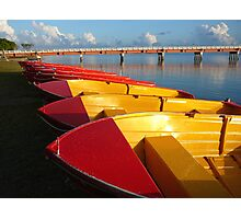 Red Hire Boats - Bribie Island Photographic Print
