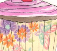 Bright Vintage inspired Pastel Floral Cupcakes Sticker
