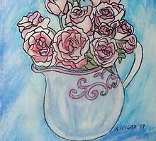 Pink Roses in a Jug by Alexandra Felgate