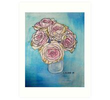 Pink Roses in a Glass Vase II Art Print