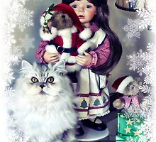 Paris with Christmas Doll (frost frame) by Julie Everhart