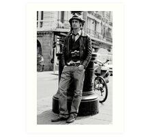 Man with vintage camera Art Print