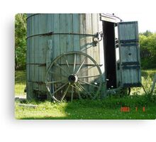 Wagon wheel and Wind Mill Canvas Print