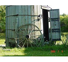 Wagon wheel and Wind Mill Photographic Print