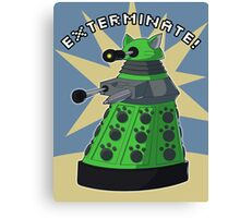 Green Kitty Dalek Canvas Print