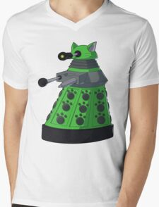 Green Kitty Dalek Mens V-Neck T-Shirt