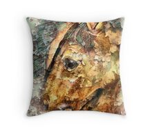 Wooden Horses Throw Pillow
