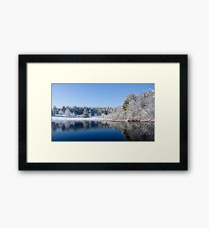 Winter Lake Scene Framed Print
