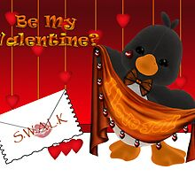 Cute Valentine Card With Penguin And Hearts by Moonlake