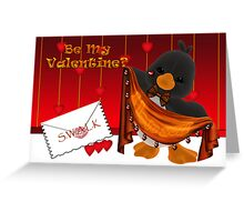 Cute Valentine Card With Penguin And Hearts Greeting Card