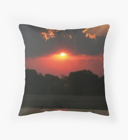 Sunset over the Luangwa River, South Luangwa National Park, Zambia Africa Throw Pillow