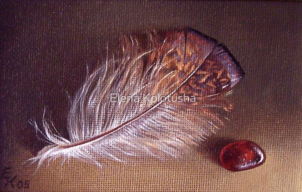 Still life with the feather #1 by Elena Kolotusha