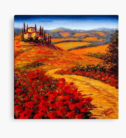 Tuscany Spring Road to the Villa Canvas Print