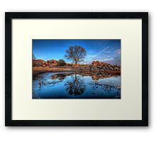 Rock Wall Tree Reflect Framed Print