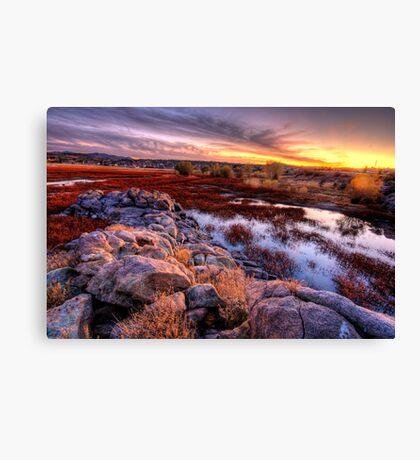 Willow Lake Rock Wall Sunset 1 Canvas Print