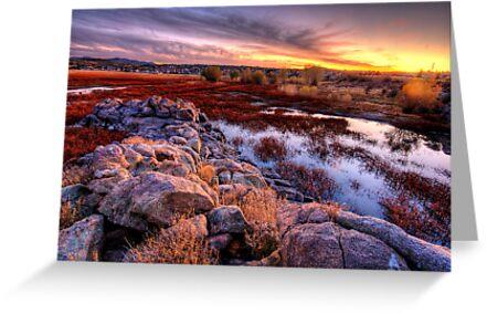 Willow Lake Rock Wall Sunset 1 by Bob Larson