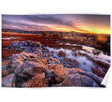 Willow Lake Rock Wall Sunset 1 Poster