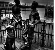 Sculptures At Mermaid Quay Cardiff Wales by Ian Mooney