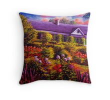 Monet's Garden and House Throw Pillow