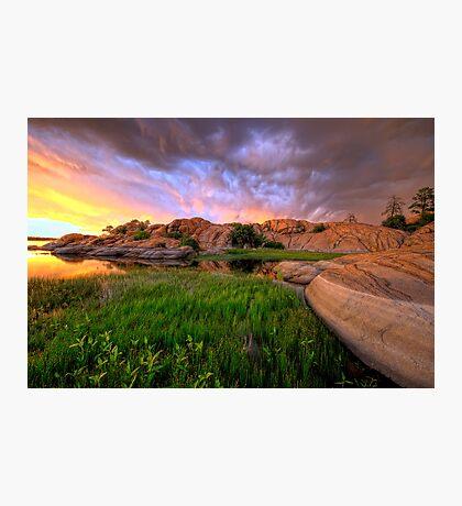 Willow Lake Round Rock Photographic Print