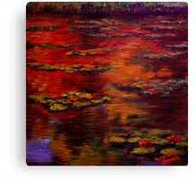 Red Lily Pond Canvas Print