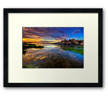 Willow Lake Spring Sunset Framed Print