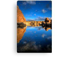 Watson Lake Sky/Rock reflect Canvas Print