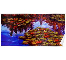 Luscious Lilies on Monet's Pond Poster