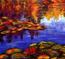 Red Lilies on Monet's Pond by sesillie