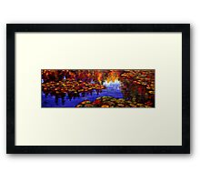 Red Lilies on Monet's Pond Framed Print