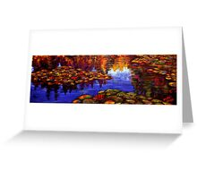 Red Lilies on Monet's Pond Greeting Card