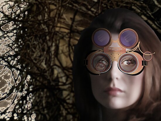 eye as a lens - steampunk variations - beyond the stone tower by dennis william gaylor