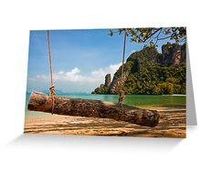 Tropical Beach Swing Greeting Card
