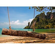 Tropical Beach Swing Photographic Print