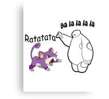 Baymax and Ratata Pokemon Fist Bump Canvas Print