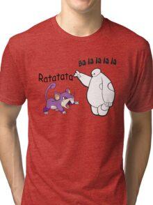 Baymax and Ratata Pokemon Fist Bump Tri-blend T-Shirt