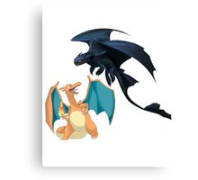 Charizard vs Toothless Night Fury Canvas Print