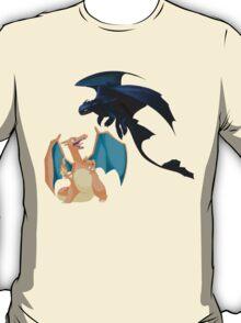 Charizard vs Toothless Night Fury T-Shirt